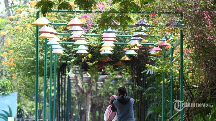 Pengunjung berwisata di Kebun Binatang Surabaya (KBS), Kota Surabaya, Jawa Timur, Jumat (31/7/2020). Libur Iduladha kali ini, pengunjung di PD Taman Satwa Kebun Binatang Surabaya masih sepi. KBS telah dibuka kembali pada Senin (27/7/2020) dengan melakukan penerapan protokol kesehatan pencegahan penularan Covid-19. Surya/Ahmad Zaimul Haq