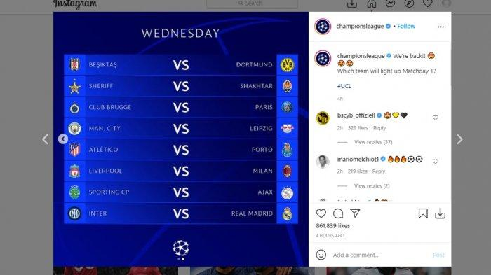 Jadwal pertandingan kompetisi Liga Champions matchday pertama fase grup yang bakal tersaji Selasa (14/9/2021) hingga Kamis (16/9/2021)