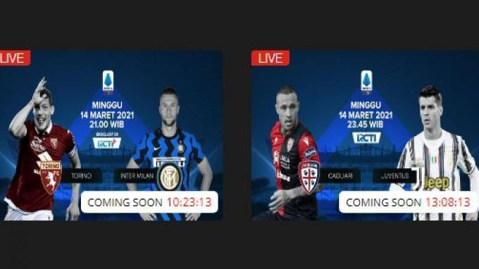 Liga Italia Live RCTI Plus, Torino vs Inter Milan hingga Cagliari vs Juventus