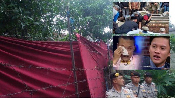 Makam Lina Zubaedah mantan istri Sule ditutupi selubung kain merah dan dijaga ketat polisi saat proses jasad diangkat dari kubur dan diotopsi Kamis 9 Januari 2020 pagi.