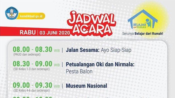 Link Streaming dan Jadwal TVRI Belajar dari Rumah, Rabu 3 Juni 2020 untuk PAUD, SD, SMP dan SMA
