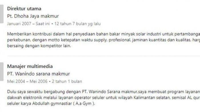 Linkedin Mansyardin Malik memuat beberapa informasi tentang perjalanan kariernya.