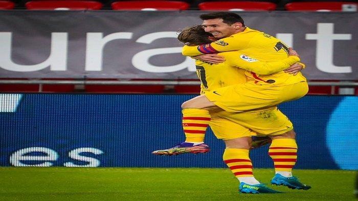 Lionel Messi dan Antoine Griezmann Merayakan Gol yang Dicetak ke Gawang Athletic Bilbao di Ajang Liga Spanyol