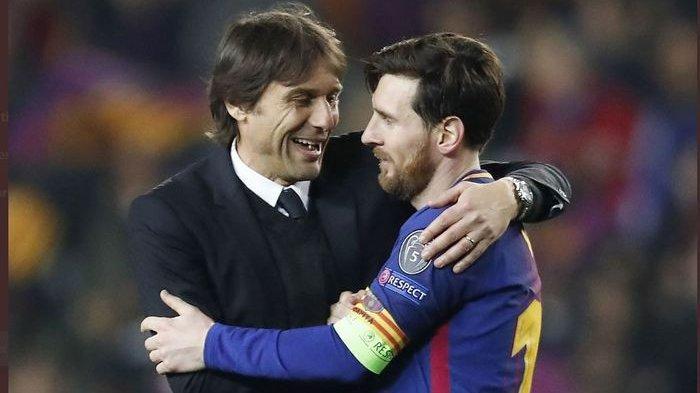 Pelatih Inter Milan, Antonio Conte, dan kapten Barcelona, Lionel Messi.