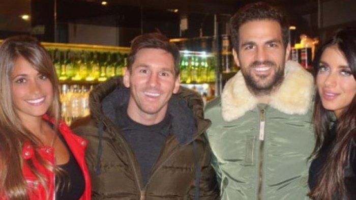 Lionel Messi dan Istri Bersama Cesc Fabregas dan Daniella Semaan
