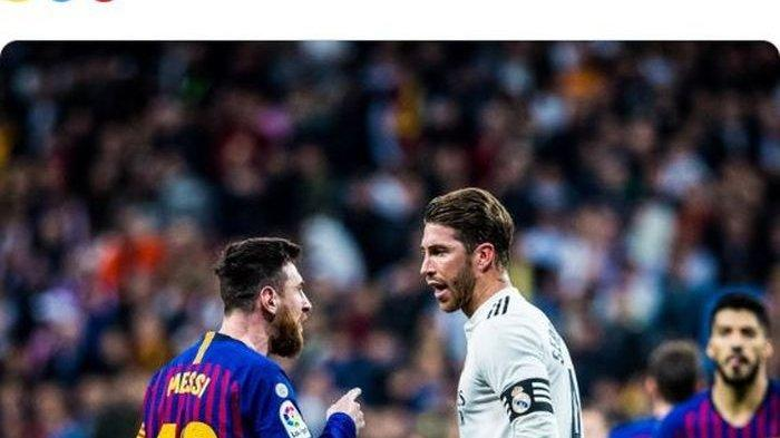 Megabintang Barcelona, Lionel Messi (kiri), berdebat dengan kapten Real Madrid, Sergio Ramos.