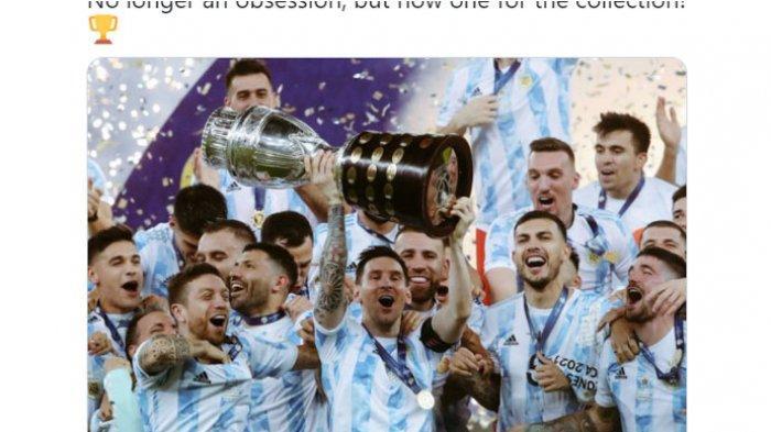 Penyerang Argentina Lionel Messi merayakan gelar juara Copa America 2021 bersama rekan setimnya. Argentina menjadi juara seusai mengalahkan Brasil di final dengan skor 1-0 di Stadion Maracana, Rio De Janeiro, Brasil, Minggu (11/7/2021).