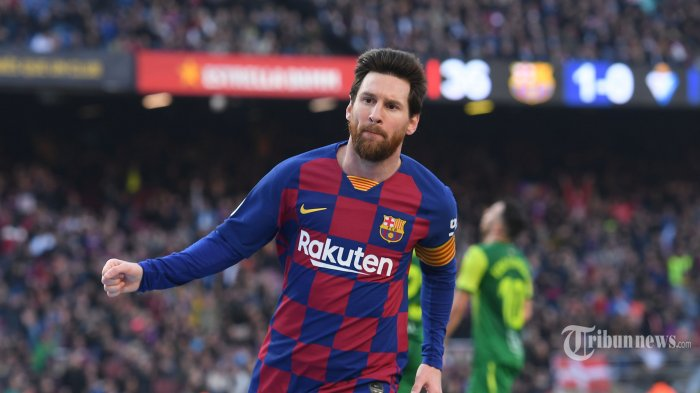 Pemain depan FC Barcelona asal Argentina, Lionel Messi melakukan selebrasi usai mencetak gol ke gawang Eibar dalam laga lanjutan Liga Spanyol di Stadion Camp Nou, Barcelona, Spanyol, Sabtu (22/2/2020) malam WIB. FC Barcelona berhasil mengalahkan Eibar dengan skor 5-0, empat gol di antaranya dilesakkan Lionel Messi. AFP/Josep Lago