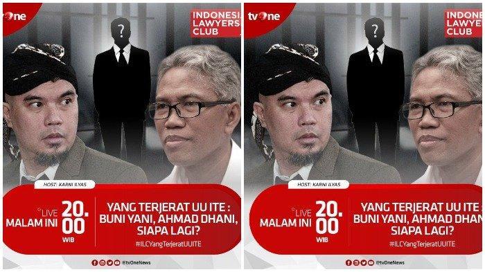 Live Streaming ILC TV One Malam Ini Pukul 20.00 WIB, Tema Kasus Ahmad Dhani hingga Buni Yani