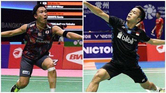 Jadwal TVRI & Live Streaming Japan Open 2019 Jumat (26/7), Perempatfinal Anthony Ginting vs Kento Momota.