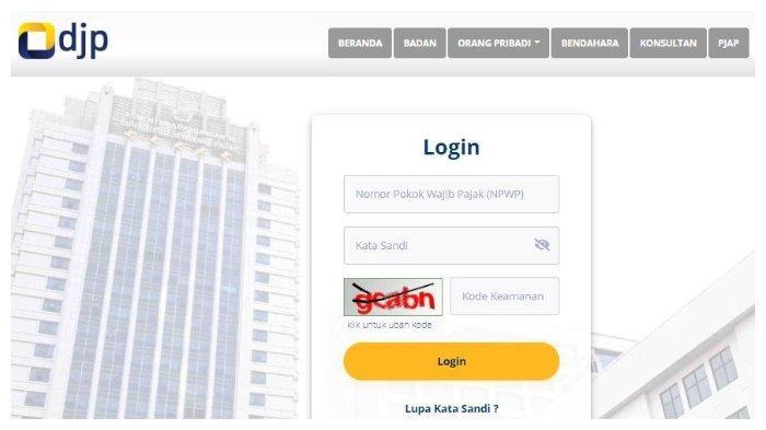Halaman website djponline.pajak.go.id.