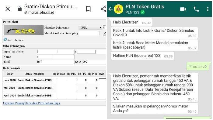 Begini tampilan saat akses token listrik gratis dari PLN melalui laman www.pln.co.id atau via WhatsApp.