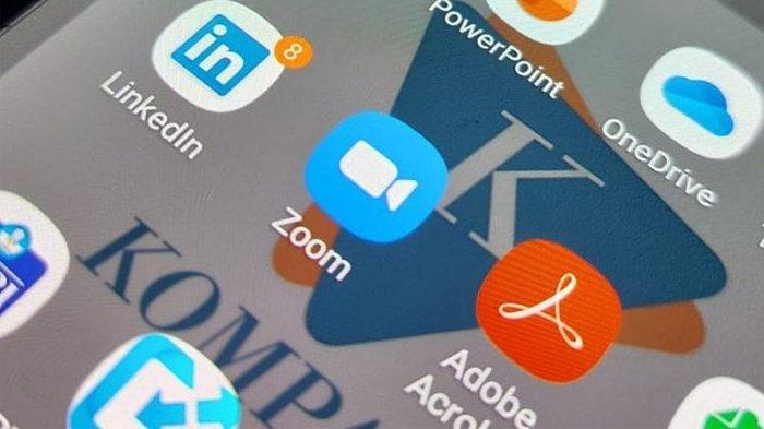 Logo aplikasi Zoom.
