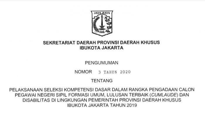 Pengumuman Tes SKD CPNS Pemprov DKI Jakarta.