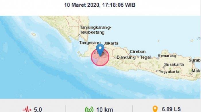 Lokasi gempa di Sukabumi, Jawa Barat, Selasa (10/3/2020).