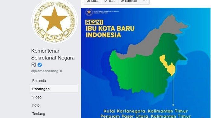 Lokasi ibukota baru RI diunggah oleh akun resmi Kementerian Sekretariat Negara RI dalam akun resmi Facebook.