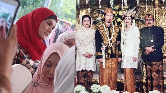 Mulan Jameela dan foto pernikahan Ahmad Dhani dengan Maia Estianty.