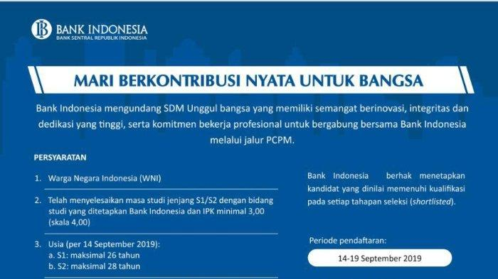 Lowongan Kerja Bank Indonesia Seleksi PCPM 34, Simak Persyaratan dan Jadwal Rekrutmennya