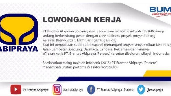 Lowongan Kerja BUMN PT Brabtas Abipraya (Persero) Pendaftaran Dibuka hingga 14 Februari 2019