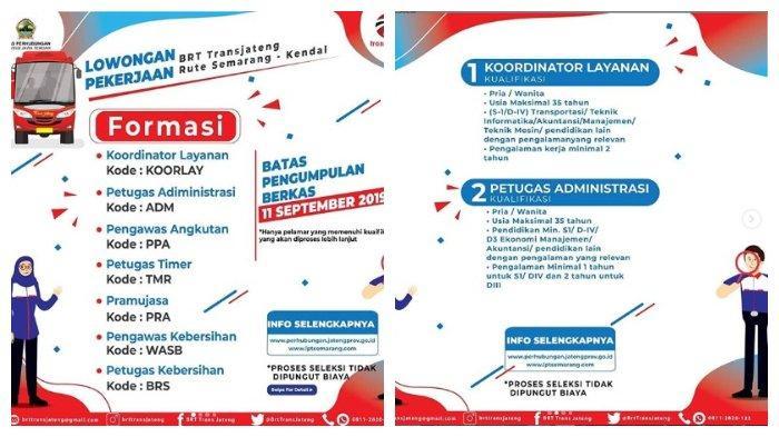 Lowongan Kerja Non PNS Dinas Perhubungan Provinsi Jawa Tengah, Buka hingga 11 September 2019