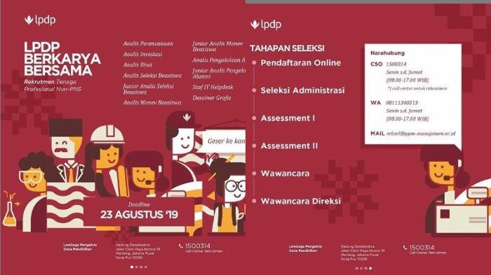 LPDP Buka Lowongan Kerja, Posisi sebagai Tenaga Profesional Non PNS, Pendidikan Diploma hingga S2