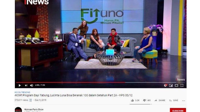 Lucinta Luna dalam Hotman Paris Show, Kamis (12/6/2019).