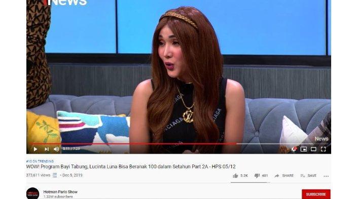 Lucinta Luna dalam Hotman Paris Show, Kamis (6/12/2019).