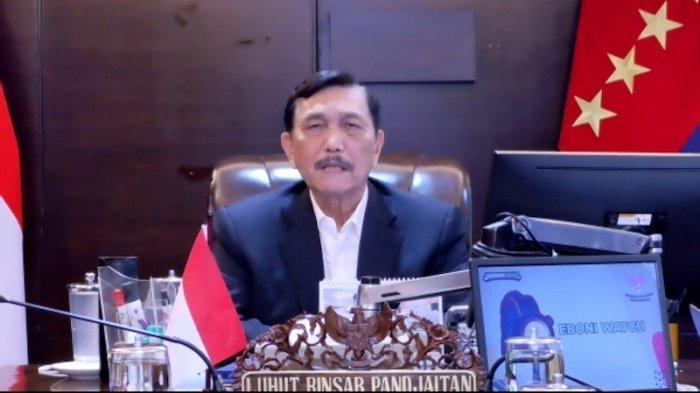Menteri Koordinator Bidang Kemaritiman dan Investasi Luhut Binsar Pandjaitandalam acara Kementerian Tenaga Kerja secara virtual, Selasa (13/7/2021)