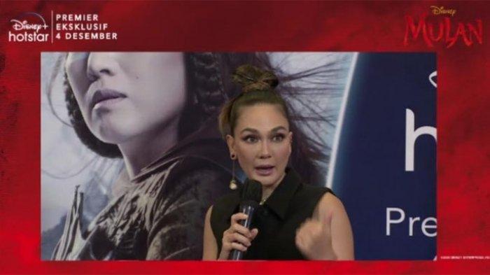 Luna Maya pengisi suara Xian Lang Indonesia saat jumpa pers jelang premiere Disney Mulan secara virtual, Kamis (19/11/2020).