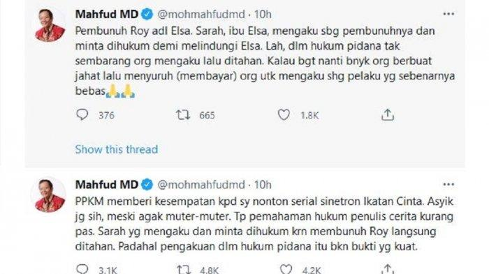 Mahfud MD kritik jalan cerita Sinetron Ikatan Cinta