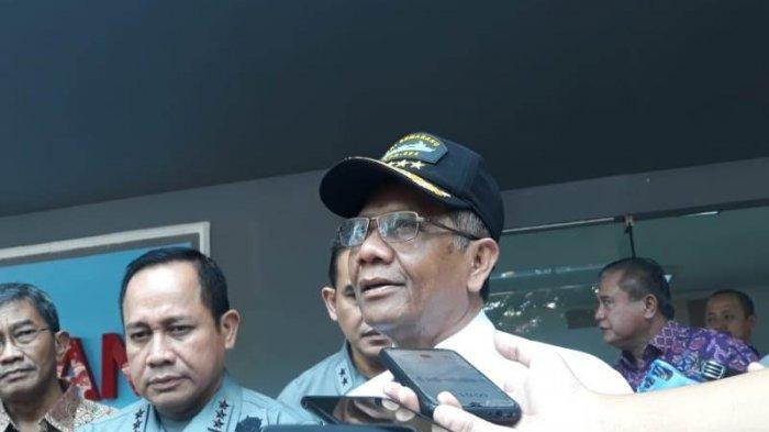Menko Polhukam Mahfud MD saat menyambangi Badan Keamanan Laut (Bakamla) di Jl Proklamasi, Jakarta Pusat, Jumat (6/3/2020).