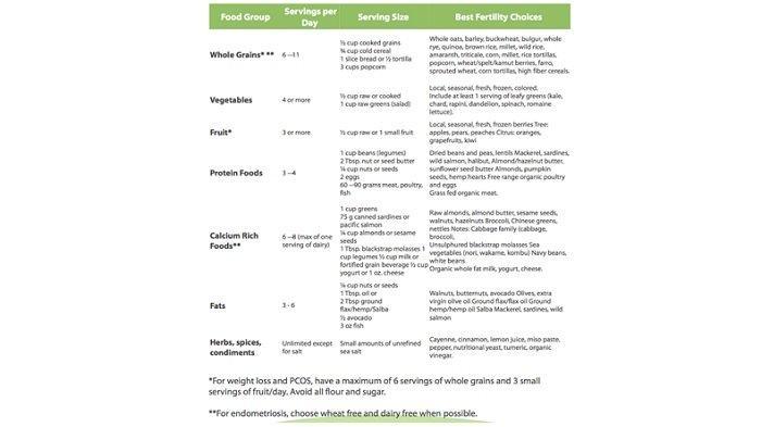 Tabel daftar makanan dengan batas konsumsi makanan yang harus dikonsumsi calon ibu atau ayah untuk mendukung program kehamilan