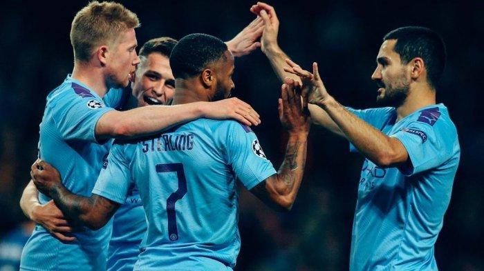 Para pemain Manchester City Merayakan Gol (@mancity)