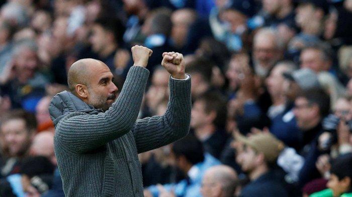 Ekspresi pelatih Manchester City, Pep Guardiola saat timnya bertanding melawan Southampton pada laga pekan ke-11 Liga Inggris 2018-2019 di Stadion Etihad, Manchester, Inggris, Minggu (4/11/2018) malam WIB.