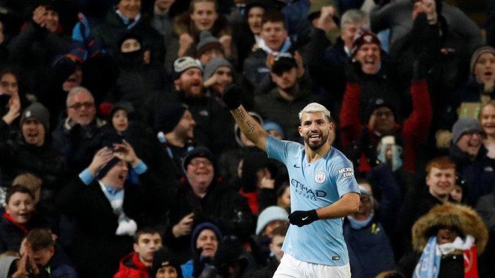 Penyerang Manchester City, Sergio Aguero merayakan golnya ke gawang Arsenal dalam laga pekan ke-25 Liga Inggris di Stadion Etihad, Manchester, Inggris, Senin (4/2/2019) dini hari WIB.