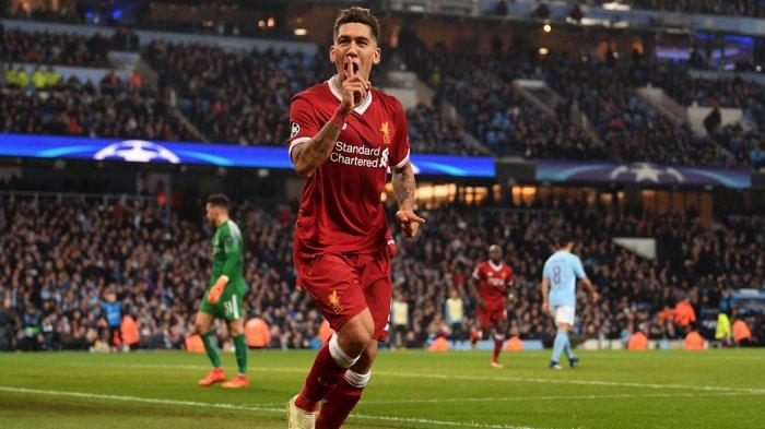 Pemain Liverpool FC, Roberto Firmino merayakan golnya ke gawang Manchester City dalam laga leg kedua babak perempat final Liga Champions di Stadion Etihad, Manchester, Inggris, Rabu (11/4/2018) dini hari WIB.