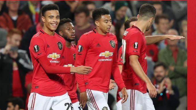 Pemain Manchester United usai jebol gawang lawan