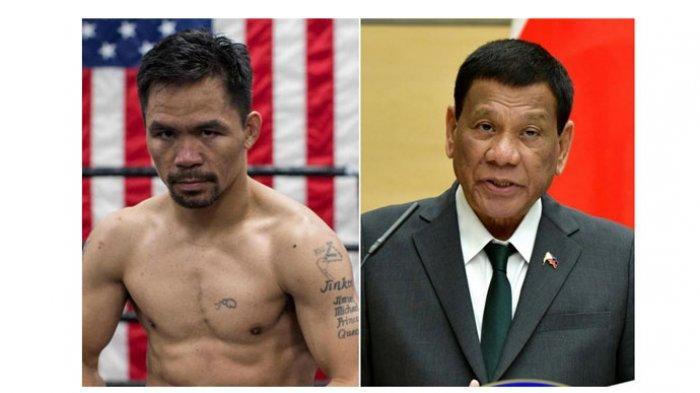 Petinju yang juga seorang senator di Filipina Manny Pacquiao dan Presiden Filipina, Rodrigo Duterte.