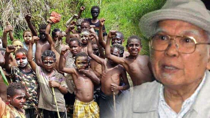 Kolase Foto anak-anak Papua (kiri) dan Mantan Ephorus HKBP Dr SAE Nababan