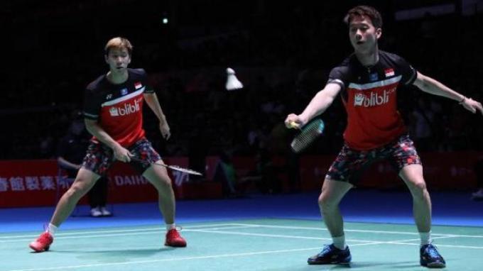Marcus Fernaldi Gideon/Kevin Sanjaya Sukamuljo saat berlaga di Jepang Open 2019.