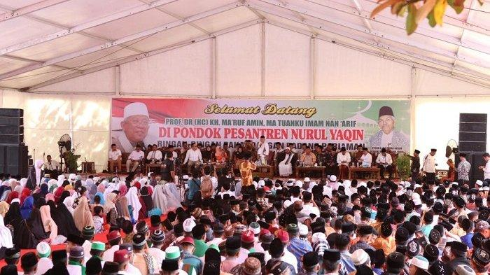 Ma'ruf Amin Akhiri Safari di Padang dengan Menghadiri Tablig Akbar di Pondok Pesantren Nurul Yaqin