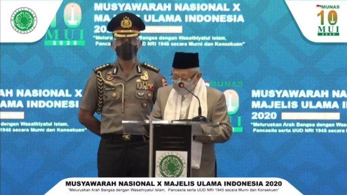 Tangkapan layar Wakil Presiden Ma'ruf Amin dalam kegiatan penutupan Musyawarah Nasional (Munas) X MUI yang disaksikan melalui siaran youtube Sekretariat Wakil Presiden, Jumat (27/11/2020).