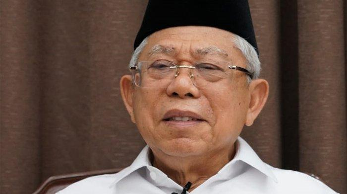 Wakil Presiden Ma'ruf Amin saat menjalani sesi wawancara virtual, Rabu (18/3/2020).