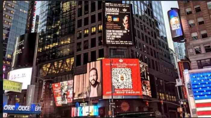 Wajah Maruli Tampubolon terpampang di Nasdaq Tower dan Thomson Reuters, Timesquare New York, Amerika Serikat Januari 2021. (