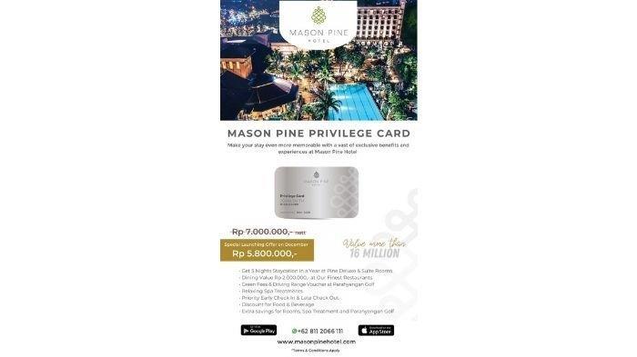 Dengan Mason Pine Privilege Card, Nikmati Gaya Hidup Premium Lebih Maksimal