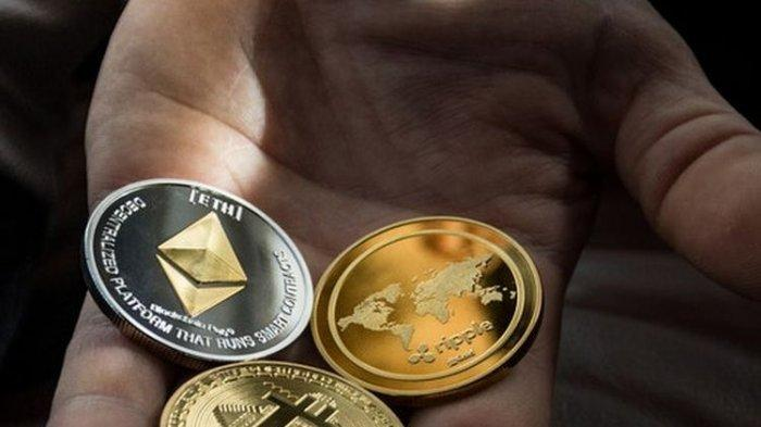 Ilustrasi bitcoin, aset kripto, Cryptocurrency Ethereum.