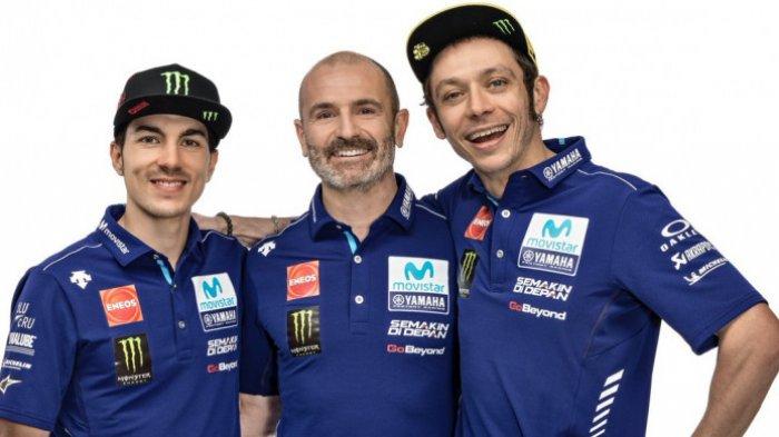 Maverick Vinales, Massimo Meregalli (Direktur Tim Movistar Yamaha), dan Valentino Rossi.