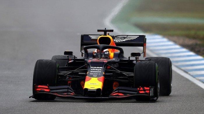 Pembalap Red Bull Racing, Max Verstappen, kala beraksi di Hockenheimring untuk sesi balapan F1 GP Jerman 2019, Minggu (28/7/2019)