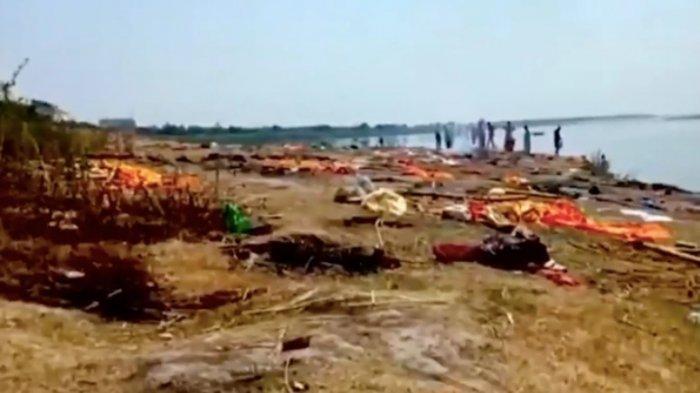 India digegerkan dengan penemuan puluhan mayat pasien Covid-19 yang terapung di Sungai Gangga.