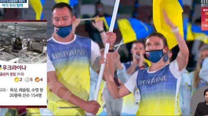 Gambar insiden nuklir Chernobyl muncul sebagai keterangan gambar saat atlet Ukraina diperkenalkan dalam Olimpiade Tokyo 2020.